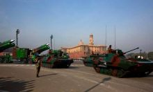Indian Army tanks driving past Raisina hills for Republic Day 2017 practise.