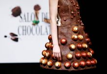 This dress is clearly made of chocolate, with an addition of chocolate rolls on top.