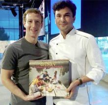 Vikas Khanna posted this photo with Facebook CEO, Mark Zuckerberg. He said it was an honour to present Utsav to the man behind one of the leading social media sites in the world. The chef also hinted that he'll be cooking an Indian feast for Zuckerberg.