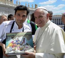"""Vikas Khanna might just be the first chef to gift a cookbook representing a whole nation to the Pope. When he met Pope Francis, and gifted him a copy of Utsav, the latter thanked him with the words: """"UTSAV has the beautiful heart of India""""."""