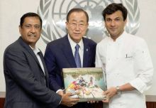 """Utsav is a book about Indian festivals, and their unifying aspect. Vikas Khanna gifted a copy to the current head of an organisation that works for world issues--the United Nations. Khanna gifted this copy with these words: """"During the Holy month of Ra"""