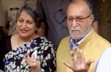 Delhi Lt Governor Anil Baijal casts his vote at a polling station in Greater Kailash 3.