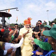 PM Narendra Modi interacting with the school children.