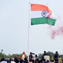 PM Narendra Modi unfurls the Tricolour flag