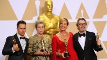 (L to R) Sam Rockwell, Frances McDormand. Allison Janney, Gary Oldman