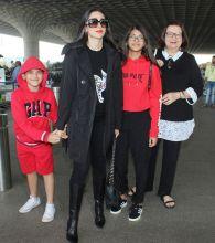 Karisma Kapoor, her children Kiaan and Samiera, and her mother, Babita Kapoor