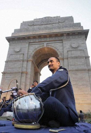 Air Force band member at India Gate