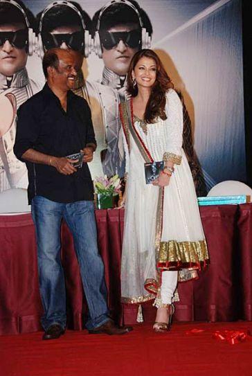 Rajinikanth with Aishwarya Rai Bachchan