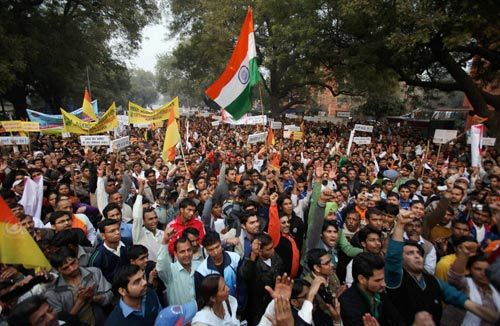 Protest against corruption at Jantar Mantar in Delhi.