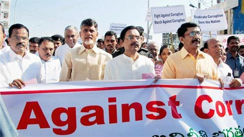 TDP chief N. Chandrababu Naidu at the anti-corruption rally in Hyderabad.