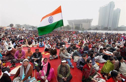 "Protesters at the ""India Against Corruption"" rally in Delhi."