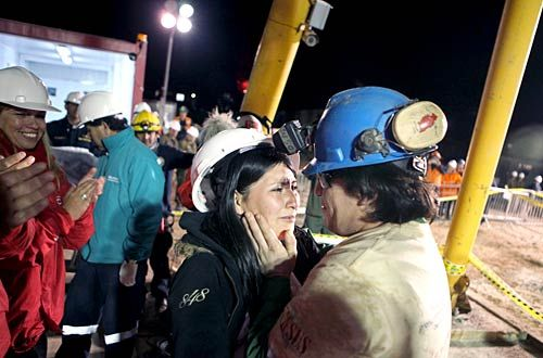 Trapped Chilean miners after their rescue.