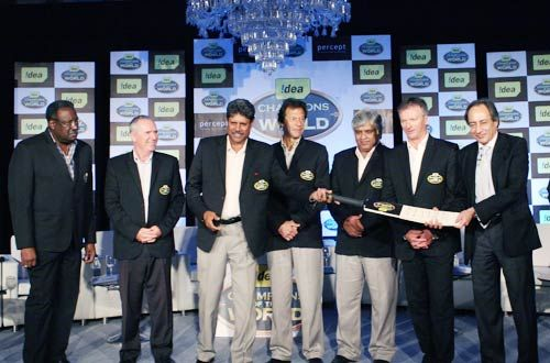 From left - Clive Llyod (West Indies), Allan Border (Australia), Kapil Dev (India), Imran Khan (Pakistan), Arjuna Ranatunga (Sri Lanka), Steve Waugh (Australia) with an Idea official.