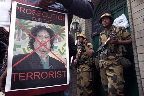 Protests against Libyan leader Moammar Gaddafi in Cairo.