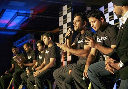 Indian captain Mahendra Singh Dhoni addresses the media.