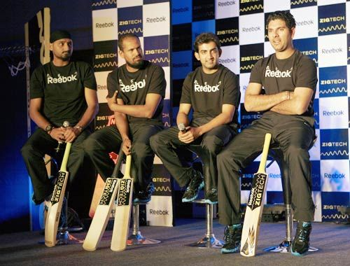 India cricketers Harbhajan Singh, Yusuf Pathan, Gautam Gambhir and Yuvraj Singh