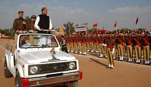 Rajasthan CM Ashok Gehlot watches the passing-out parade of police Sub-Inspectors
