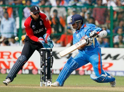 Sachin Tendulkar plays a shot off England's Graeme Swann