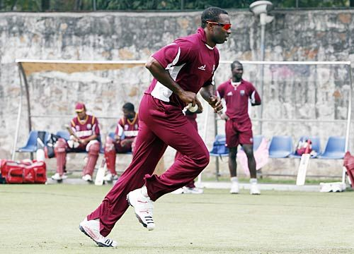 West Indies cricketers during a training session.
