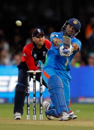 India batsman Yuvraj Singh en route to his 58 against England
