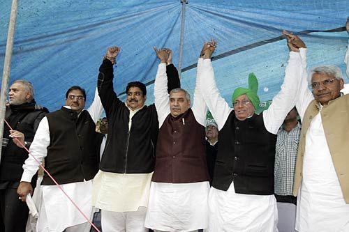 Former state chief minister Om Parkash Chautala, Abhay Chautala and Ajay Chautala