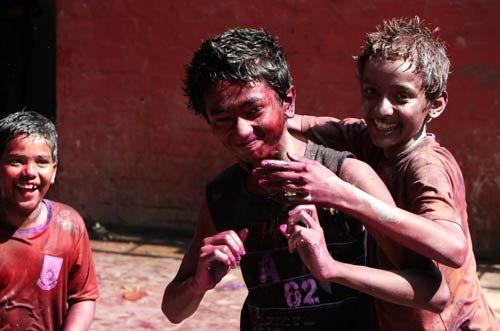 Holi celebrations, Mumbai, kids