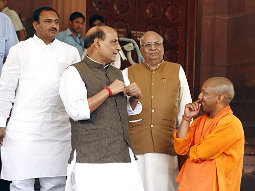 Rajnath Singh and Aditya Yogi Maharaj