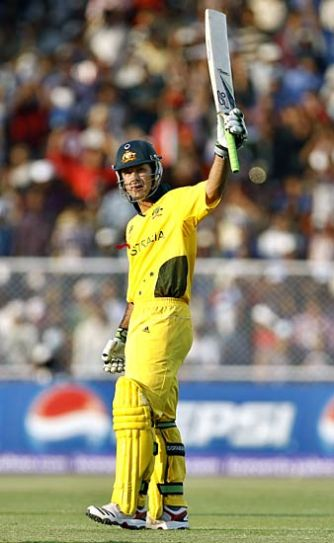 Australia captain Ricky Ponting raises his bat post his century