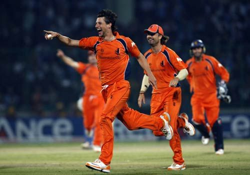 Netherlands left-arm spinner Pieter Seelaar celebrates the wicket of India batsman Yusuf Pathan