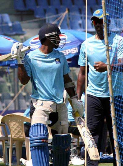 Sri Lankan players during practice in Mumbai on Thursday