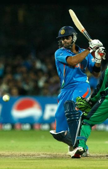 India's Virat Kohli on way to his 34 against Ireland