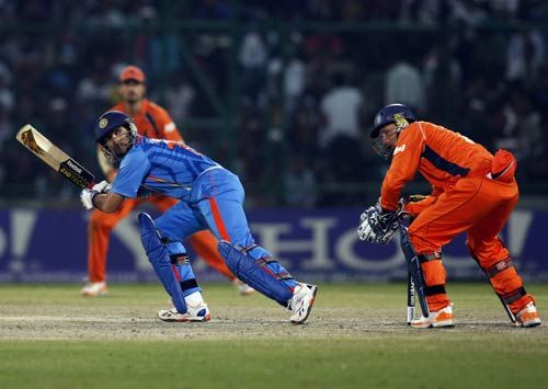 India batsman Yuvraj Singh en route to his unbeaten 51