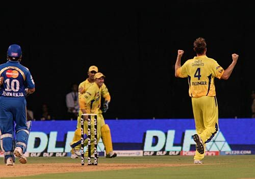 Chennai bowler Doug Bollinger celebrates the wicket of Mumbai captain Sachin Tendulkar