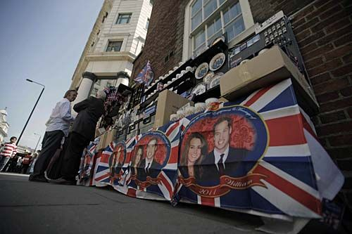 Memorabilia features Britain's Prince William and his fiance Kate Middleton