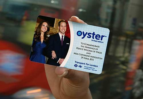 royal wedding Oyster travel card, Prince William, Kate Middleton, London