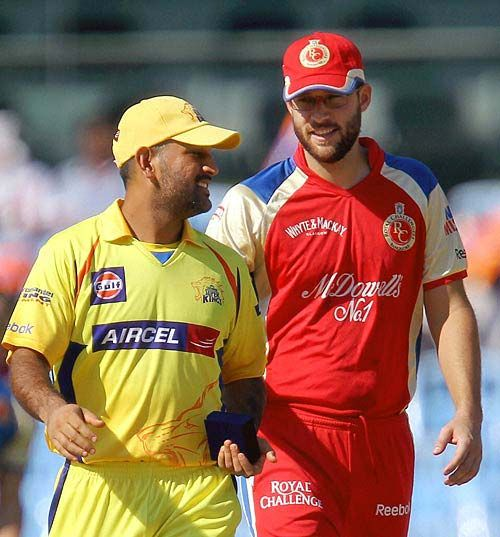 Chennai captain MS Dhoni and his Bangalore counterpart Daniel Vettori