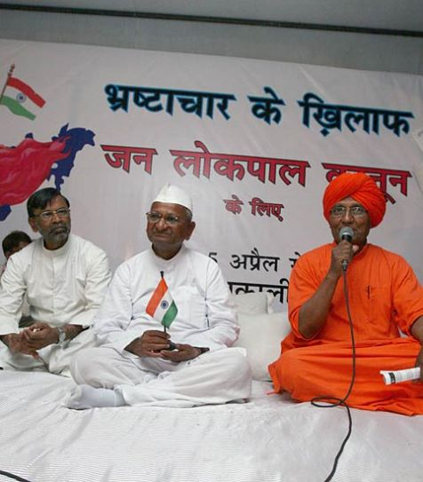 Hazare with followers