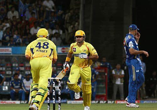Chennai batsmen Michael Hussey and Suresh Raina
