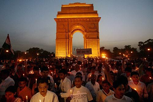 A candlelight vigil at India Gate in support of Anna Hazare.
