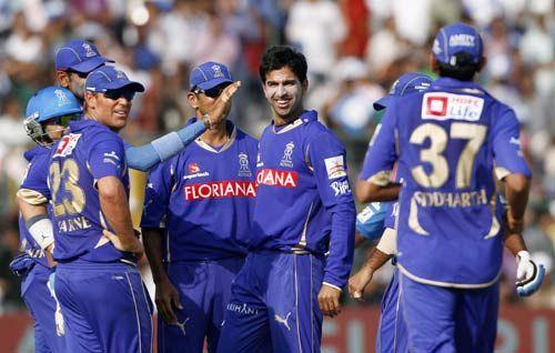 Rajasthan bowler Ashok Menaria and team-mates
