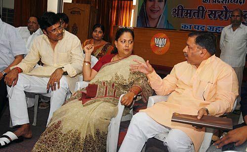 Vasundhara Raje with party leader