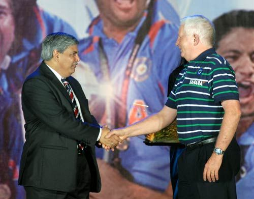 Shashank Manohar with Duncan Fletcher