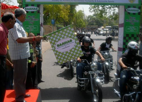 On the eve of on World Bikers Day, Society for Adventure Awareness Humanity & Automobile Sports (SAAHAS) has organised a motor bike rally in Jaipur