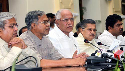 Karnataka Chief Minister BS Yeddyurappa along with the ministers