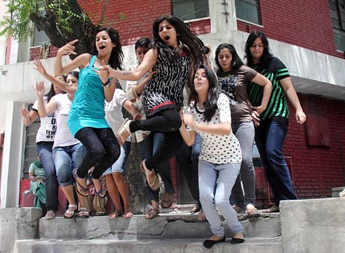 Students celebrate as CBSE class XII results were declared