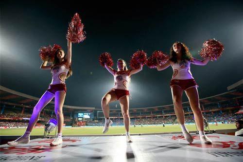 Cheerleaders perform