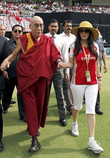Tibetan spiritual leader The Dalai Lama and Punjab team owner Preity Zinta