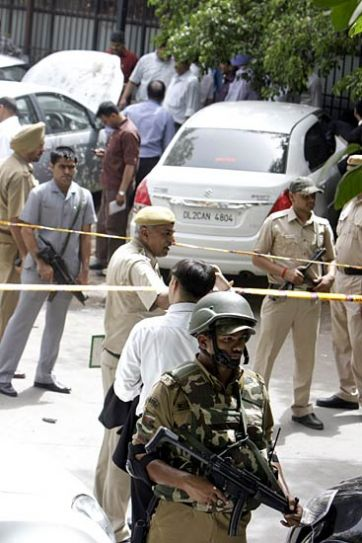 Delhi Police, special cell personnel, anti-terror unit and bomb detection and disposal unit at blast site.