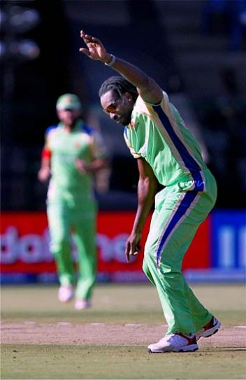 Bangalore bowler Chris Gayle celebrates the wicket of Kochi opener Michael Klinger