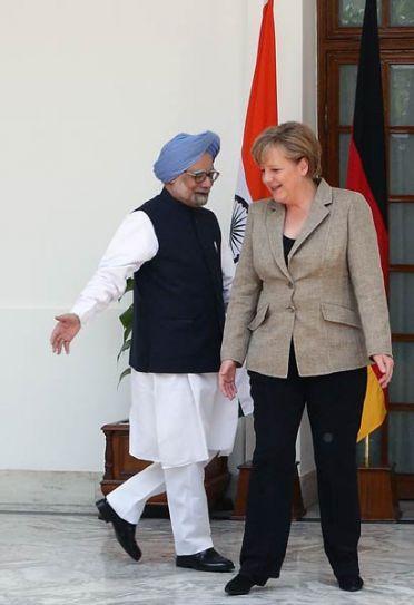 Prime Minister Manmohan Singh with German Chancellor Angela Merkel
